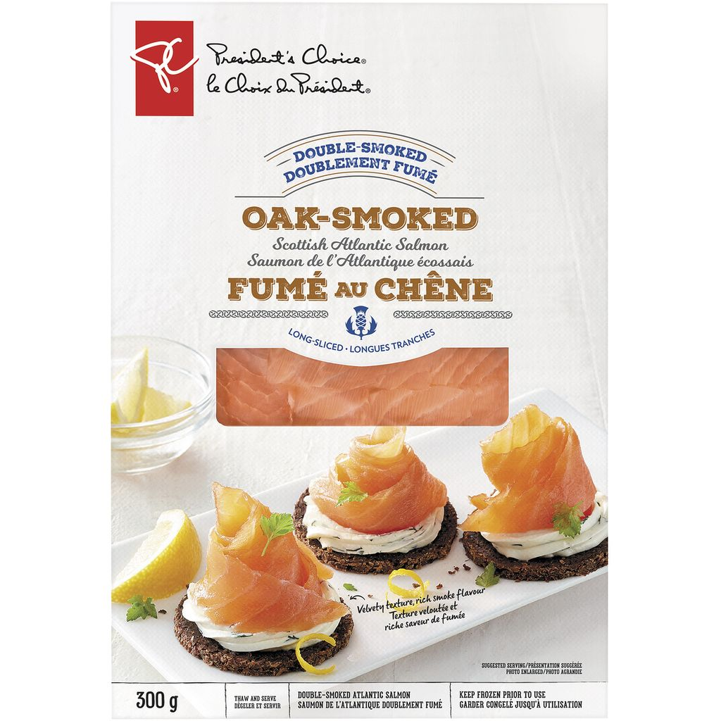 President's Choice Double Smoked Oak-Smoked Long-Sliced Scottish Atlantic Salmon, 300 g