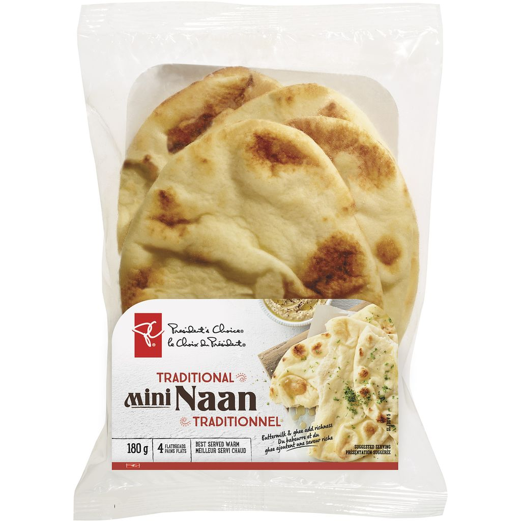 President's Choice Mini Naan Traditional 4 Flatbreads, 180 g