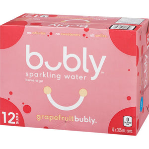 Bubly Sparkling Water Grapefruit Bubly (Case), 12x355mL