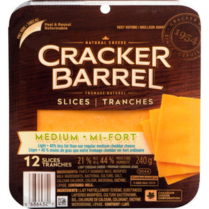 Cracker Barrel Slice Medium Cheddar Light, 240 g