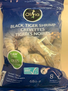 Olivia Black Tiger Shrimp 8/12 Count ~ 680 g