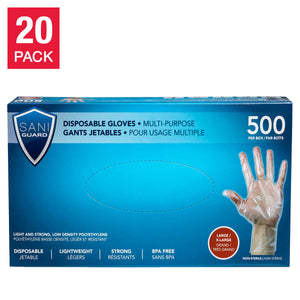 Sani Guard Disposable Large/Extra-Large LDPE Gloves, 20 boxes of 500