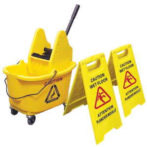 Johnny Vac 36 L Mop Bucket with Down Press Wringer and Wet Floor Sign Combo