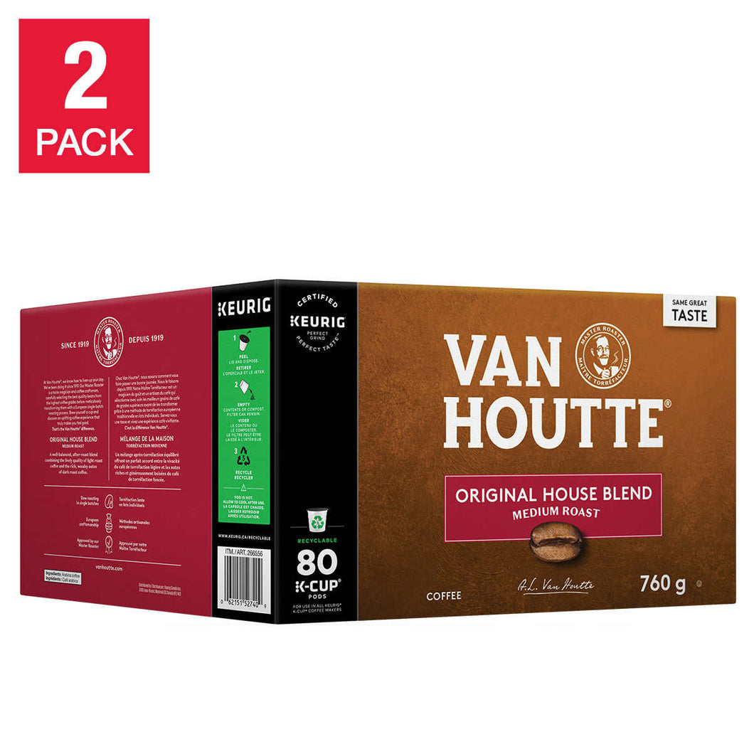Van Houtte Original House Blend Medium Roast Coffee, 2 x 80 K-Cup Pods