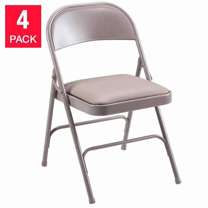 Lorell Beige Padded Steel Folding Chair 4-pack