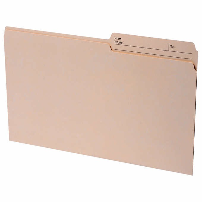 Continental Legal Manila 2-sided Tab File Folders 100-pack