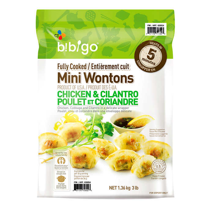 CJ Bibigo Frozen Mini Chicken and Cilantro Wontons 1.36 kg