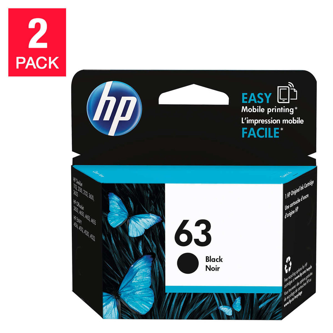 HP 63 Black Original Ink Cartridge (F6U62AN) 2-pack