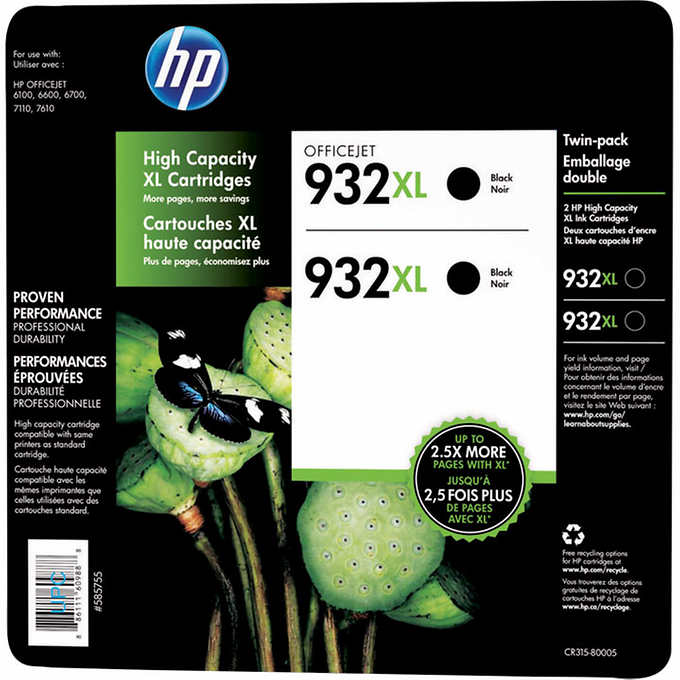 HP 932XL Black High Yield Original Ink Cartridges (CR315BN) Twin-pack