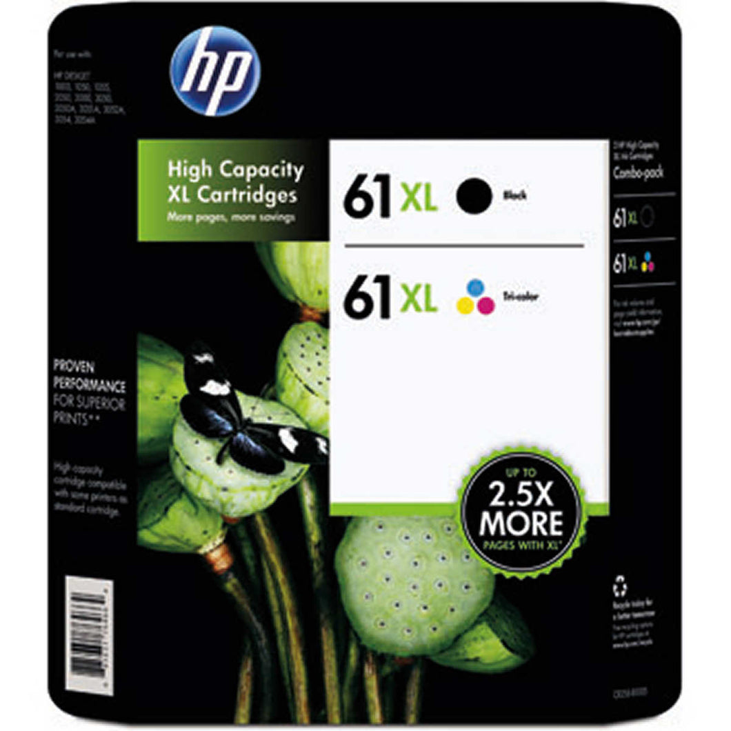 HP 61XL Black and Tri-color High Yield Original Ink Cartridges (CR258BN) Combo pack