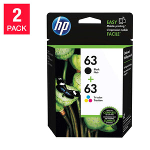 HP 63 Black and Tri-color Original Ink Cartridges (L0R46AN) 2-pack Combo pack