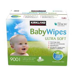 Kirkland Signature Ultra Soft Tencel Baby Wipes, 9x100 pack