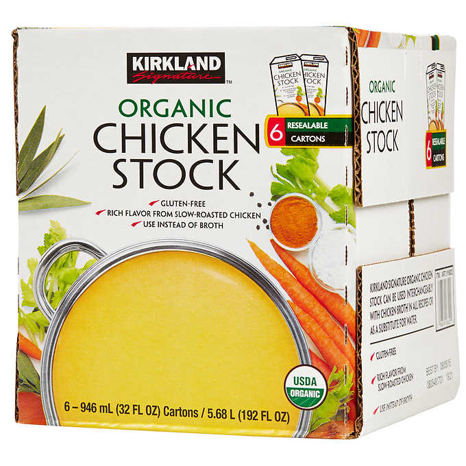 Kirkland Signature Organic Chicken Stock, 32 fl oz, 6-count