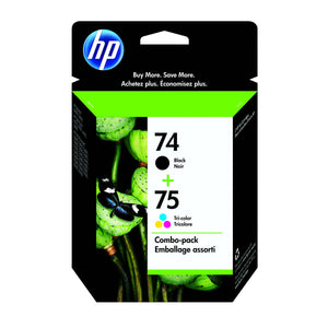 HP 74 Black and 75 Tri-color Original Ink Cartridges (CC659FN) Combo pack