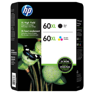 HP 60XL Black and Tri-color High Yield Original Ink Cartridges (D8J61BN) Combo pack