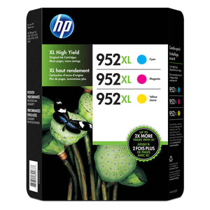 HP 952XL Cyan, Magenta and Yellow High Yield Original Ink Cartridges (N9K30BN) Combo pack