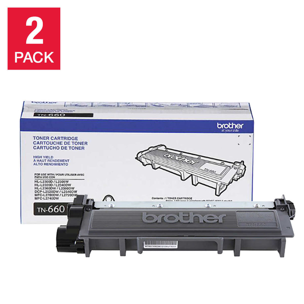 Brother TN-660 High Yield Black Toner Cartridge 2-pack