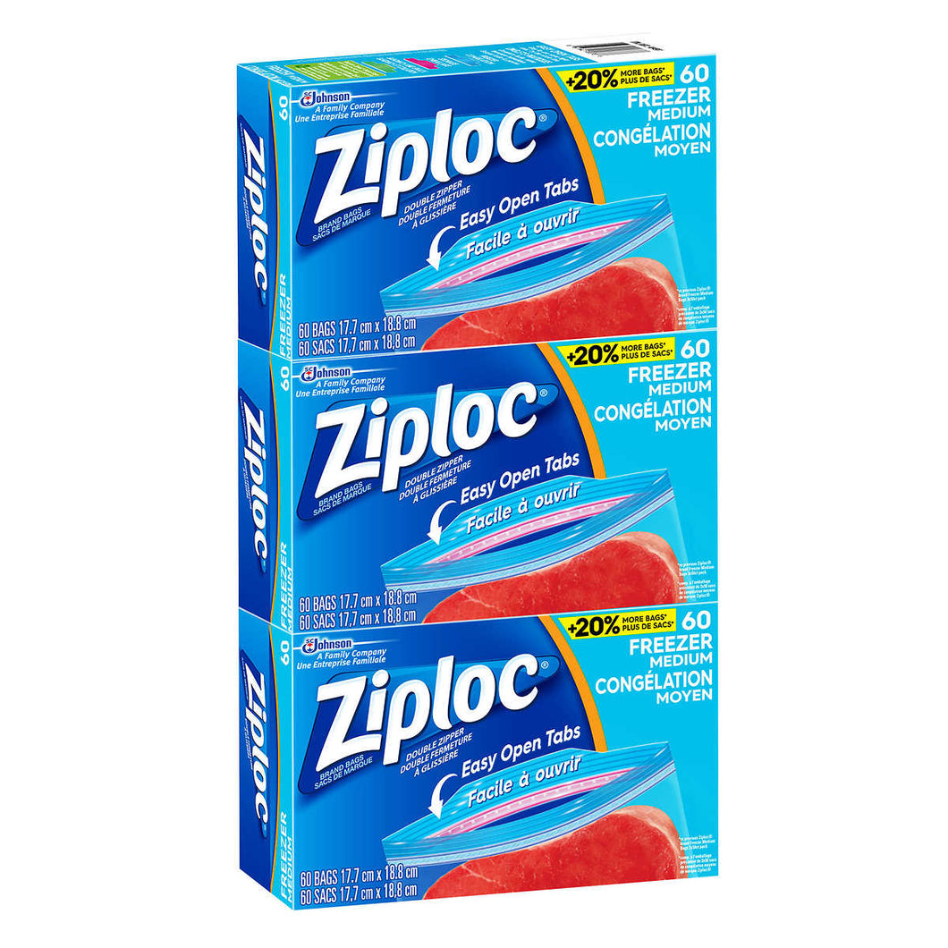 Ziploc Brand Medium Freezer Bags, 3 Packs Of 60