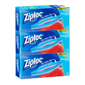 Ziploc Brand Large Freezer Bags, 3 Packs Of 50