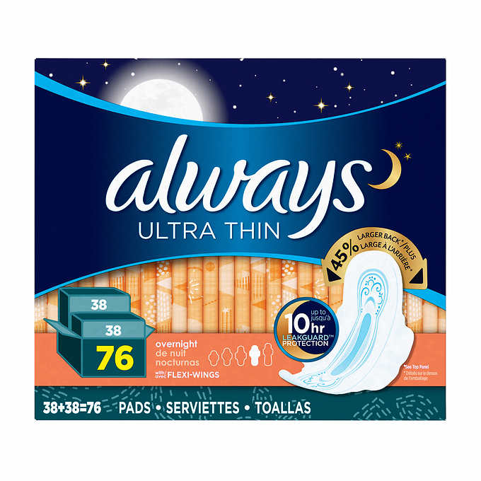 Always Ultra Thin Overnight Pads, 2-pack