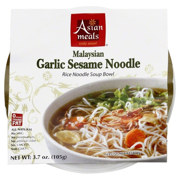 Asian Meals Soup Bowl, Rice Noodle, Garlic Sesame Noodle, Malaysian