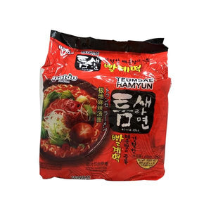 Paldo Hot and Spicy Teumsae Ramyum Noodles with Soup Mix
