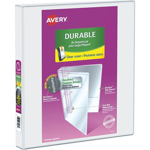 "Avery Durable View Binder, 1"" Sized Slant D Rings, White, (34002)"