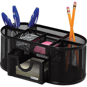 Rolodex Metal Mesh Oval Supply Caddy, Black