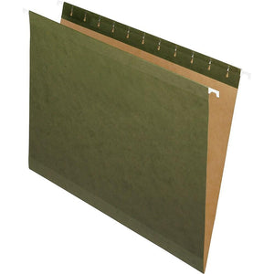 "Staples 100% Recycled Reinforced Hanging File Folders, Legal Size, 8-1/2"" x 14"", Green, 25 Pack"