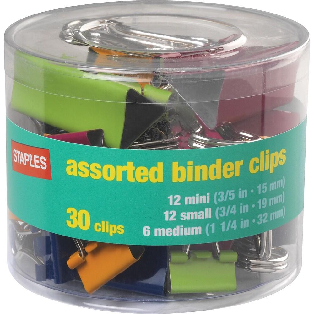 Staples Binder Clips, Classic Colours & Sizes, 30/Tubs