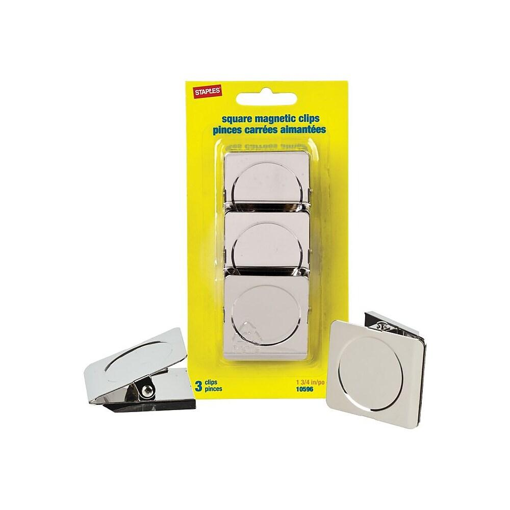 "Staples 1-3/4"" Square Magnetic Clips, Nickel, 3/Pack"