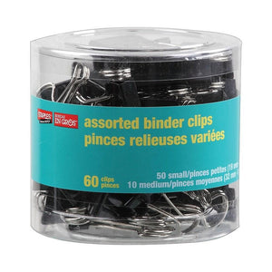 Staples Binder Clips, Assorted Sizes, Black, 60/Pack