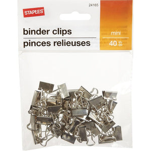 "Staples Binder Clips, Mini 3/5"", Silver, 40/Pack"
