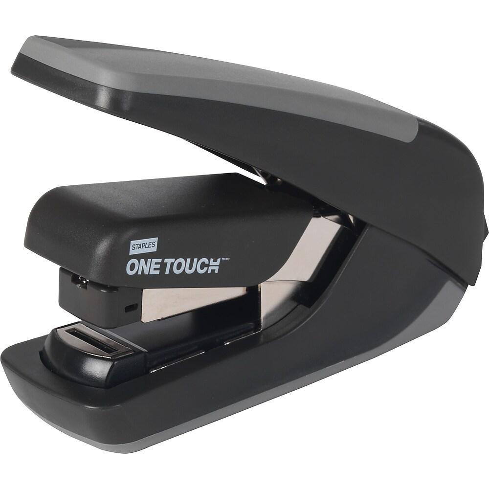 Staples One-Touch CX-4 Compact Flat-Stack Quarter Strip Stapler, 20 Sheet Capacity, Black