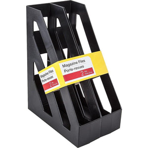 "Magazine File, 3"" x 9 5/8"", Black, 2 pack"