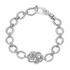 Lagos sterling silver bracelet with a love knot feature