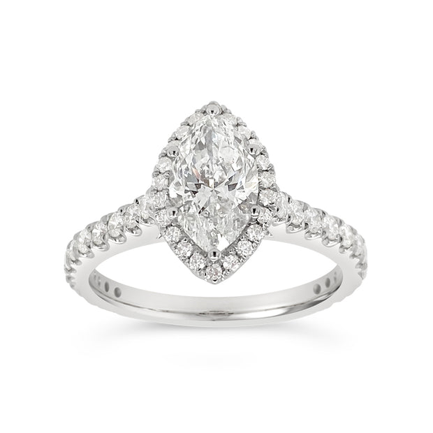 Yes by Martin Binder White Gold Marquise Halo Diamond Engagement Ring (1.53 ct. tw.)