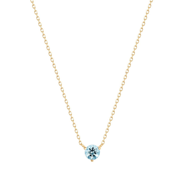 Aurelie Gi Candice Aquamarine Solitaire Necklace