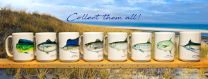 A row of the best colorful fish mugs for sale by Cape Cod artist and fisherman Charles Harden. Featuring striped bass, bluefin tuna, tarpon, yellowfin tuna, sailfish, bonefish, blue marlin, mahi mahi, permit, bluefish, and more for sale.