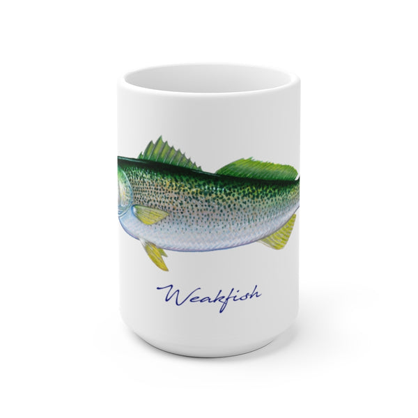 Beautiful mug featuring a fantastic original painting by artist and fisherman Charles M. Harden of a colorful Weakfish, also known as a Squeteague.  Perfect for fish chowder, coffee, tea and hot chocolate this classic white, durable ceramic mug comes in the most popular sizes - 11 oz. and 15 oz. High quality printing makes it an appreciated gift for every fisherman.