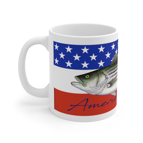 American Striper White Ceramic Mug 11 Oz