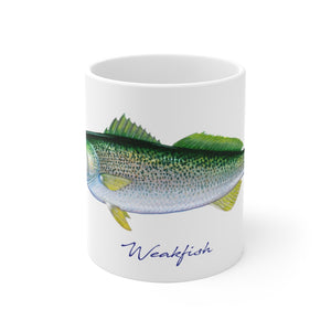 Beautiful mug featuring a fantastic original painting by artist and fisherman Charles M. Harden of a colorful Weakfish, also known as a Squeteague.  Perfect for fish chowder, coffee, tea and hot chocolate this classic white, durable ceramic mug comes in the most popular sizes - 11 oz. and 15 oz. High quality printing makes it an appreciated gift for every fisherman.  Dishwasher and microwave safe of course.