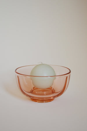 PINK GLASS CANDLE HOLDER