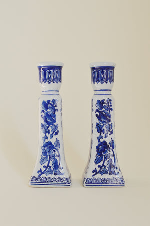 BLUE & WHITE CERAMIC CANDLE HOLDERS