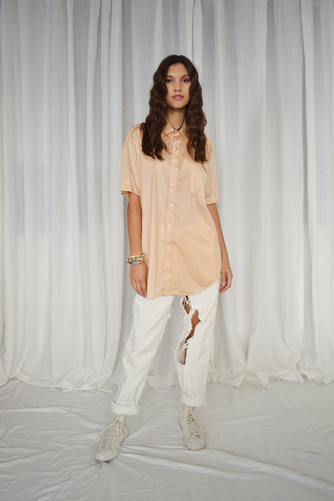 SHEER BUTTON DOWN TEE