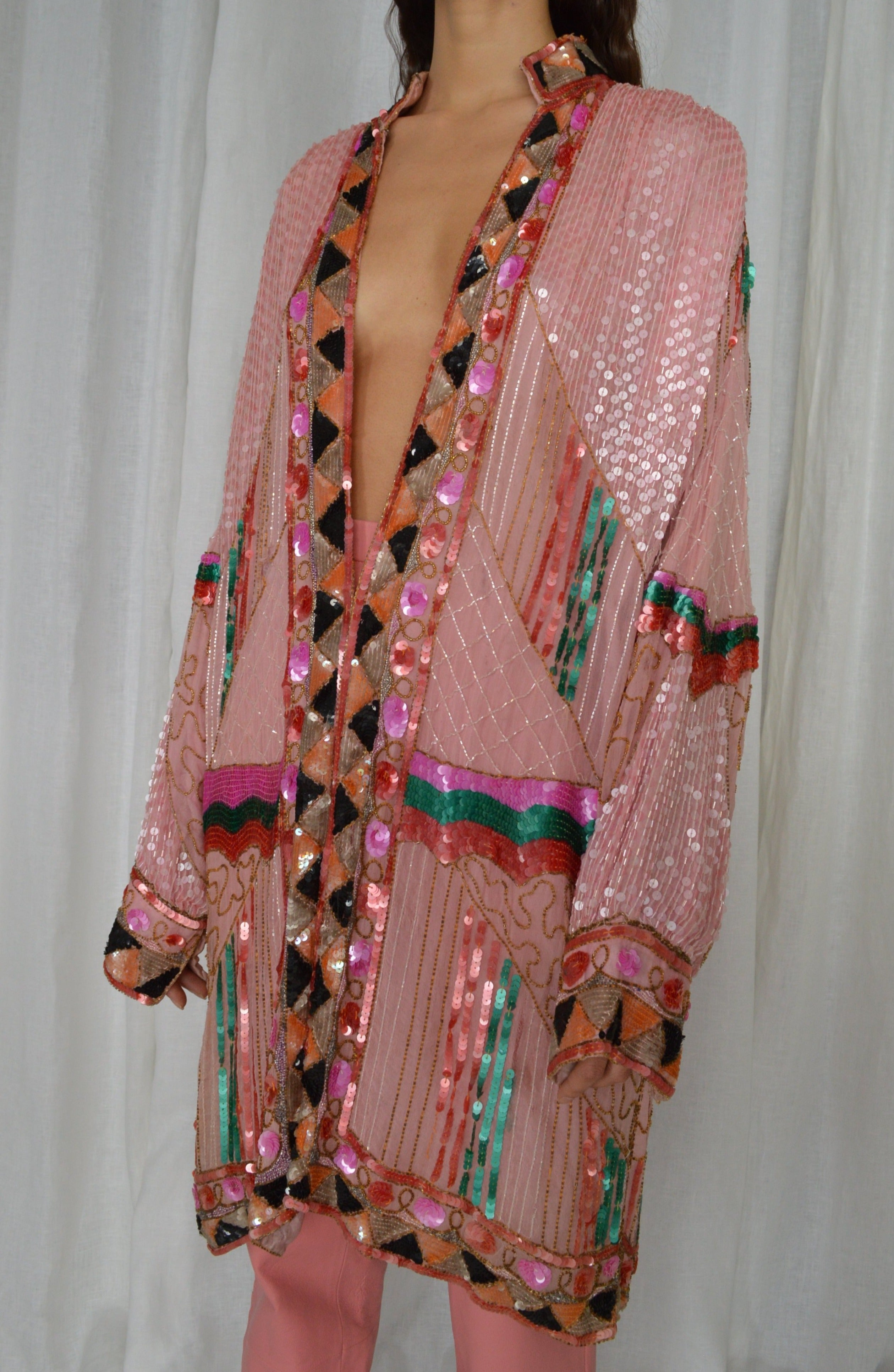 BEADED SILK COAT