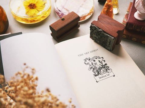 english garden bookplate rubber stamp on a book