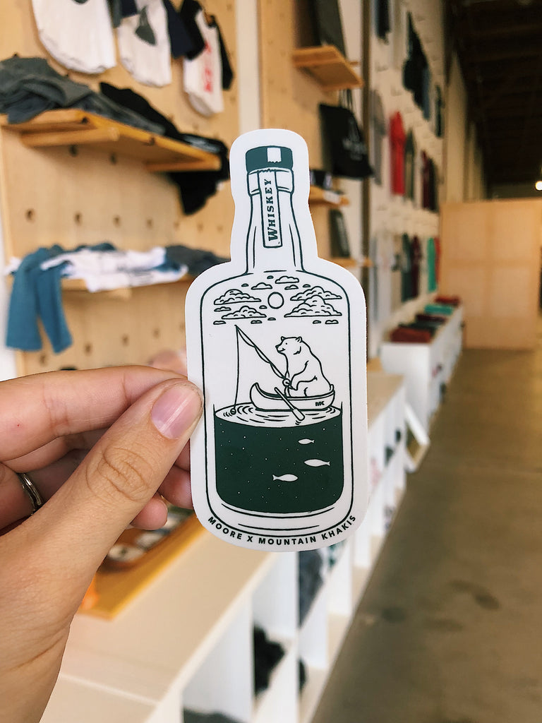 Moore x Mountain Khaki Whiskey Bear Sticker