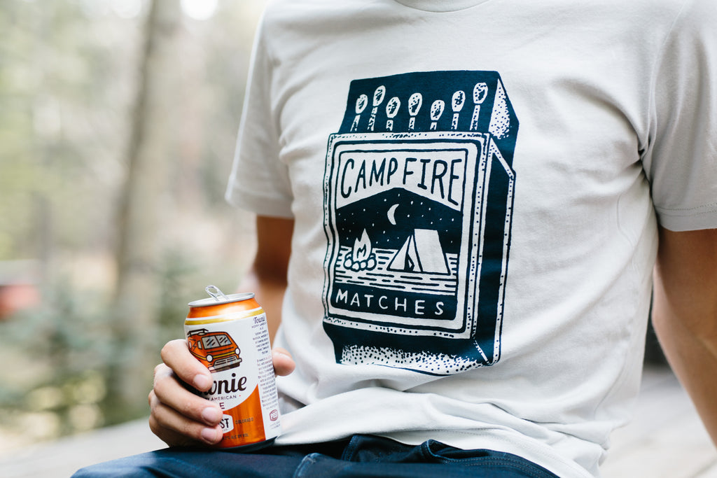 Campfire Matches Tee-Silver