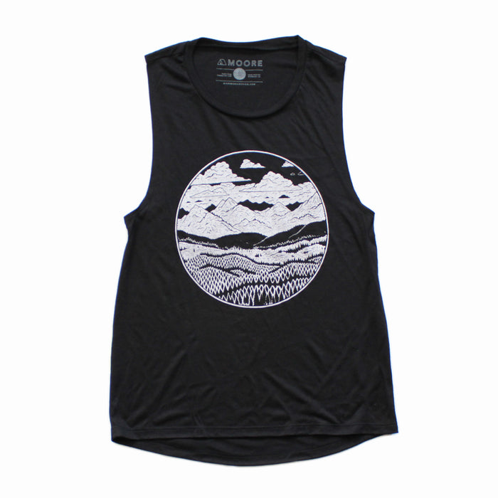 Ladies Mountain Range Muscle Tank-Black